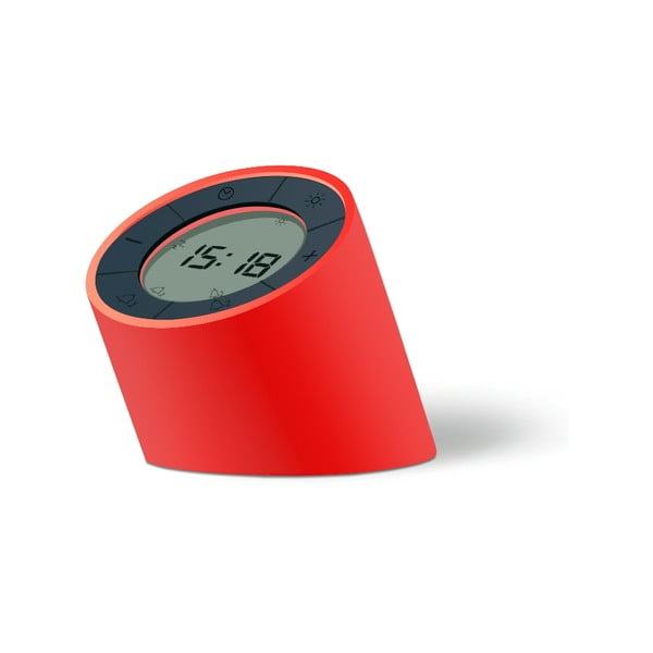 Czerwony budzik z ekranem LED Gingko Edge