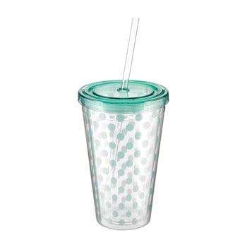 Pahar cu pai și capac Premier Housewares Spot, 450 ml, verde mentă imagine