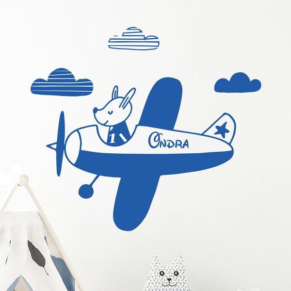 Autocolant de perete cu nume Ambiance Puppy On The Plane
