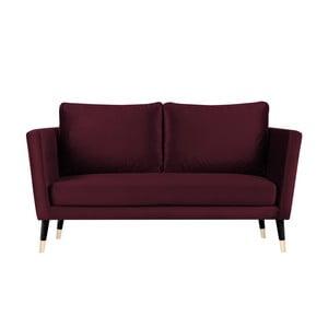 Canapea cu 3 locuri Paolo Bellutti Julia cu picioare negre, vișiniu