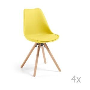 Sada 4 žlutých jídelních židlí La Forma Lars