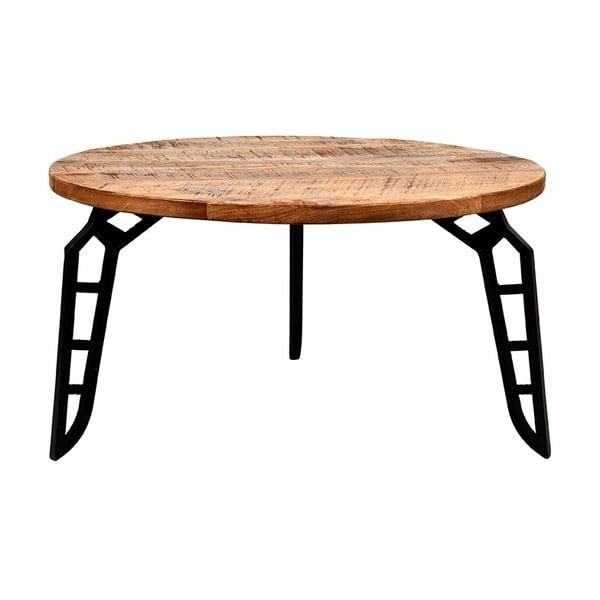 Flintstone dohányzóasztal mangófa lappal, ⌀ 80 cm - LABEL51
