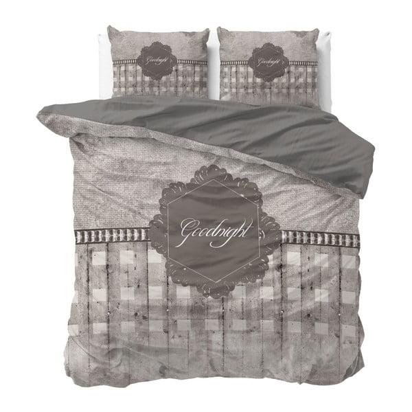 Hnědé povlečení z mikroperkálu na dvoulůžko Sleeptime Goodnight,240x220cm