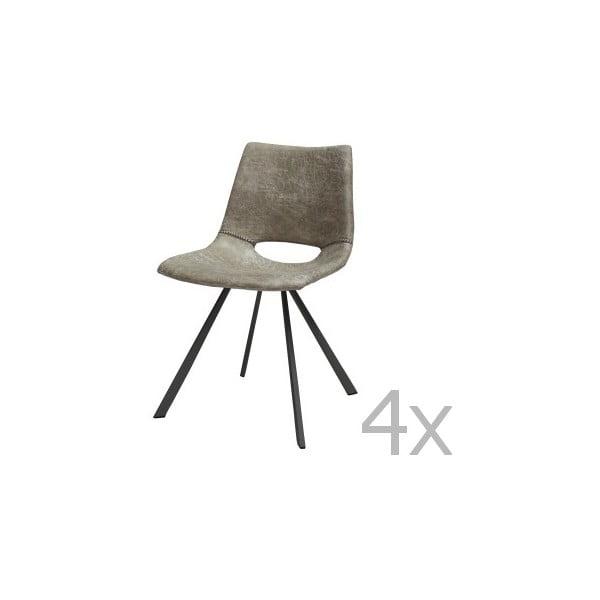 Sada 4 šedých židlí Canett Coronas Poly