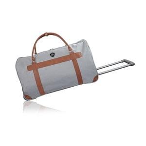 Světle šedá cestovní taška na kolečkách GENTLEMAN FARMER Oslo, 93 l
