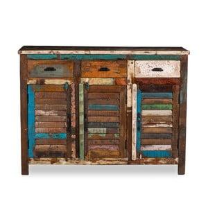 Třídveřový příborník  z recyklovaného dřeva Woodking Colour