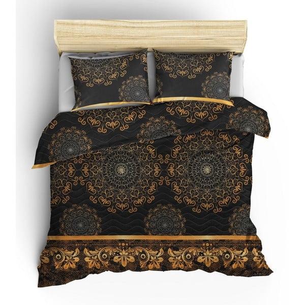 Set prošívaného přehozu a 2 povlaků na polštáře Eponj Home Şehri-Ala Gold, 200x220cm