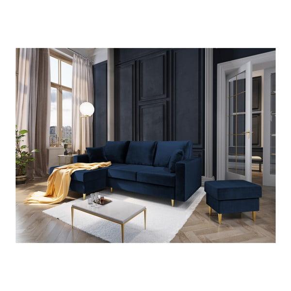 Modrý puf Mazzini Sofas Muguet, 60 x 45 cm