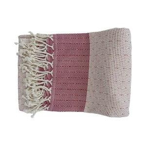 Prosop țesut manual din bumbac premium Nefes, 100 x 80 cm, roșu - alb