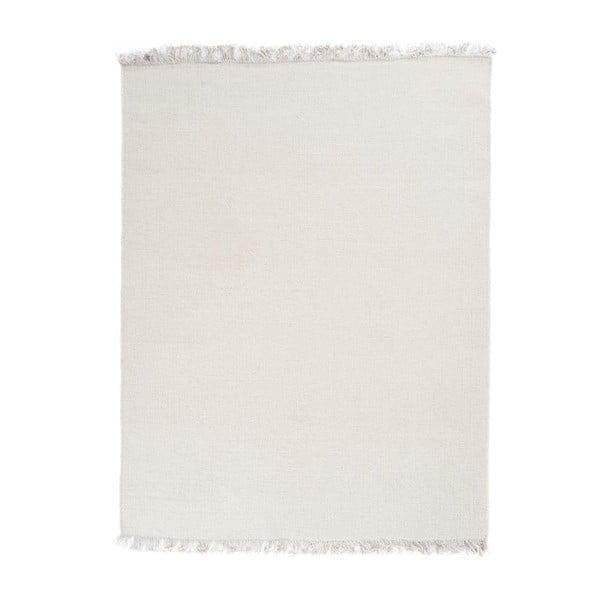 Vlněný koberec Rainbow White, 60x120 cm