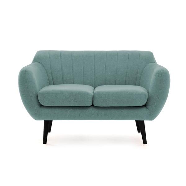 Canapea 2 locuri cu picioare negre Vivonia Kennet, albastru