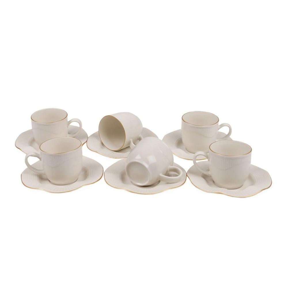Sada 6 porcelánových šálků s podšálky Kutahya Rullio