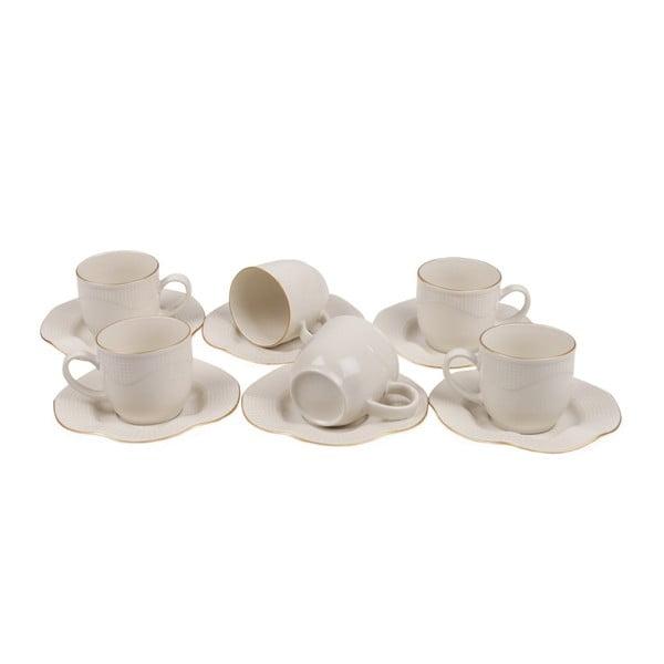 Zestaw 6 porcelanowych filiżanek ze spodkami Kutahya Rullio