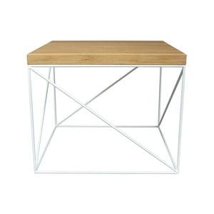 Bílý konferenční stolek s deskou z dubového dřeva Take Me HOME Hamburg, 53x53cm