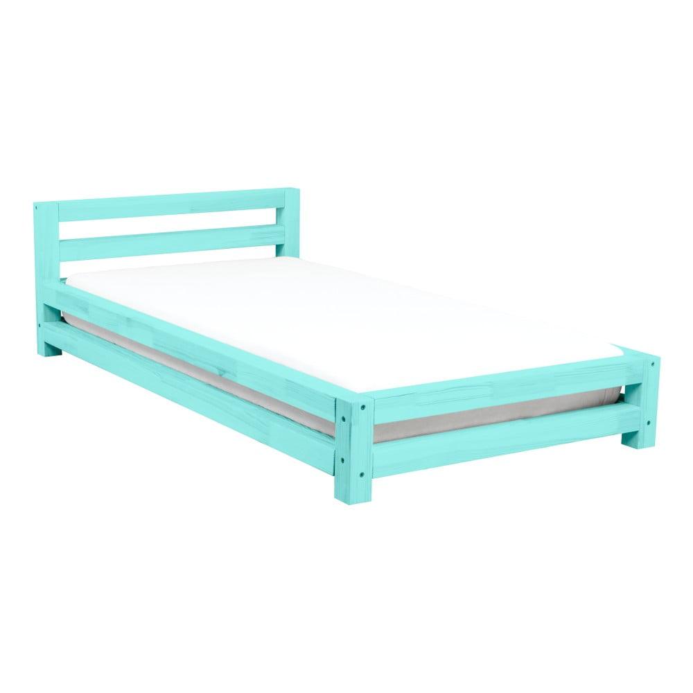 Tyrkysová jednolůžková postel z borovicového dřeva Benlemi Single,90x160cm