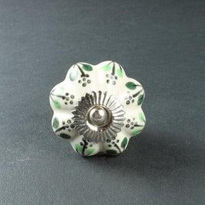 Porcelánová úchytka Green Flowers
