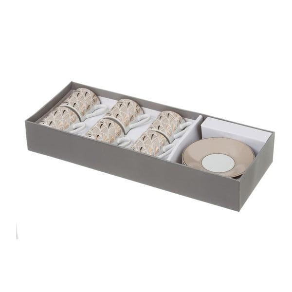 Sada 6 béžových porcelánových hrnečků s podšálky Unimasa Belle, 100ml