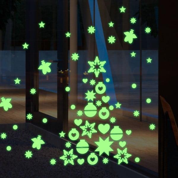 Ve tmě svítící samolepka Green Christmas