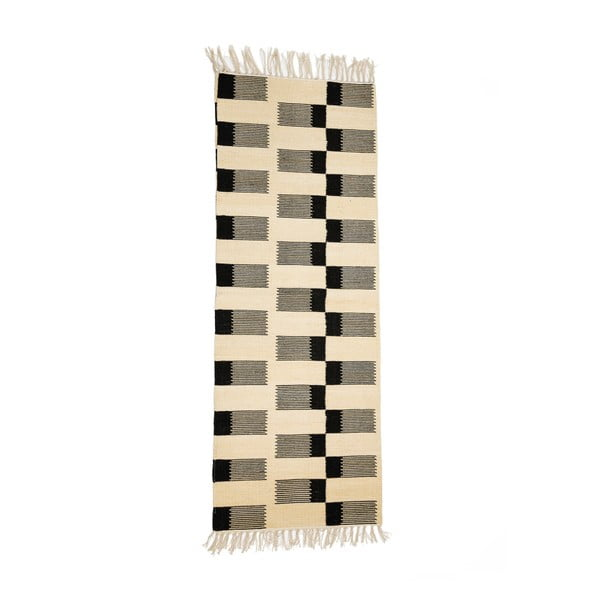 Covor din bumbac Simla Geometrico, 140x70cm, negru - alb