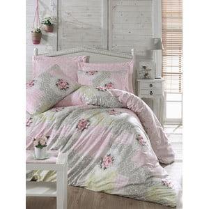 Lenjerie de pat cu cearșaf din bumbac Melani Pink, 200 x 220 cm