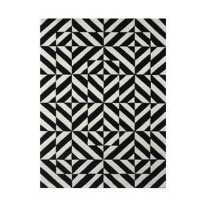 Vlněný koberec Espejo Black White, 140x200 cm
