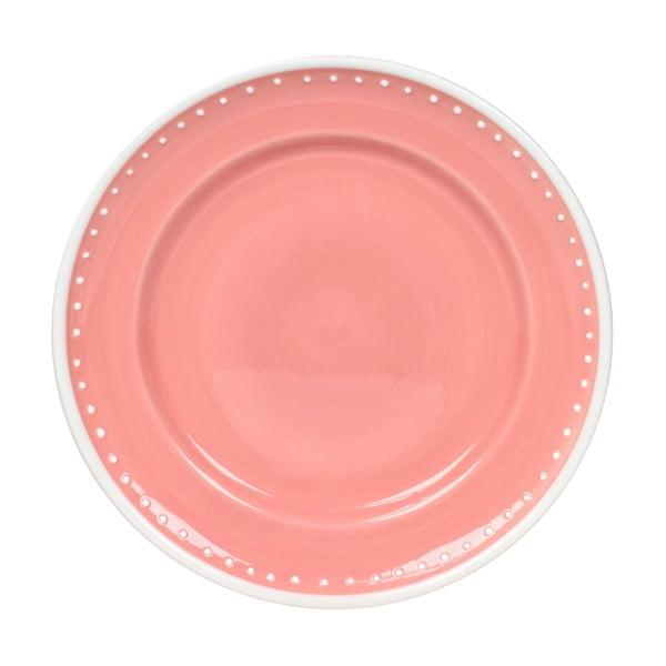 Sada 6 talířů Dots Pink 21 cm, růžový
