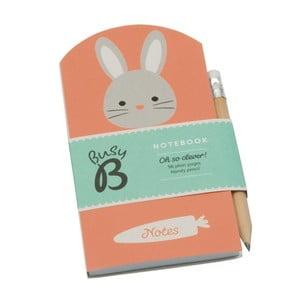 Mini agendă Busy B Bunny cu stilou