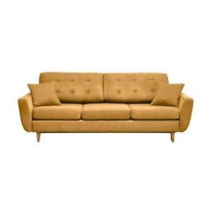 Canapea extensibilă cu 3 locuri Cosmopolitan design Barcelona, galben muștar