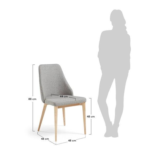 Set 2 scaune cu picioare de lemn La Forma Roxie, gri deschis