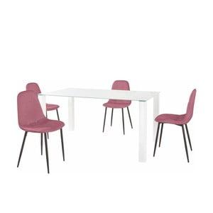 Sada jídelního stolu a 4 růžových židlí Støraa Dante, délka stolu 160cm