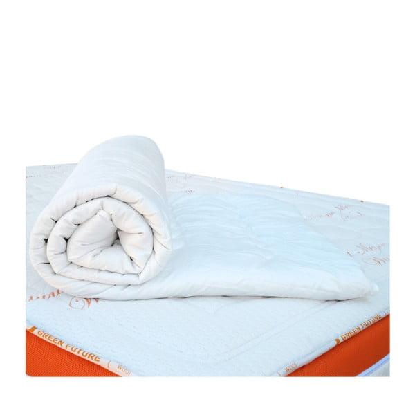 Bílá ochranná podložka na matraci s vlnou merino Lana Green Future, 90x200cm