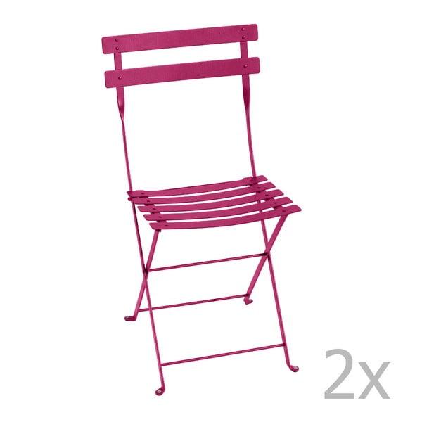 Sada 2 růžových skládacích židlí Fermob Bistro