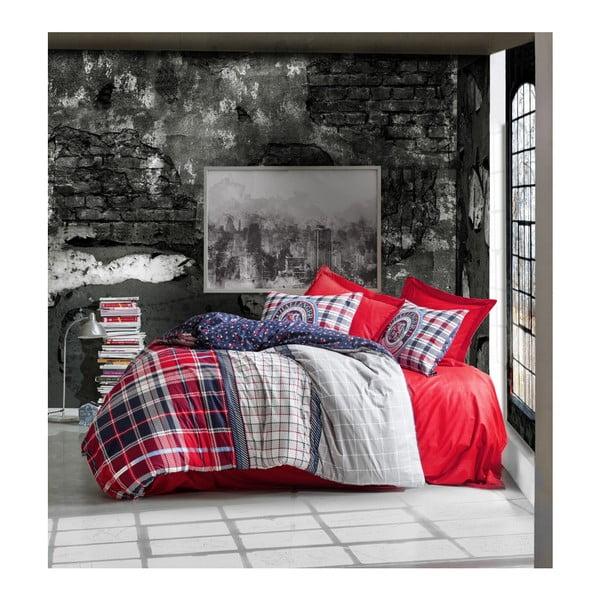 Povlečení z ranforce bavlny s prostěradlem na dvoulůžko Marco Red, 200 x 220 cm