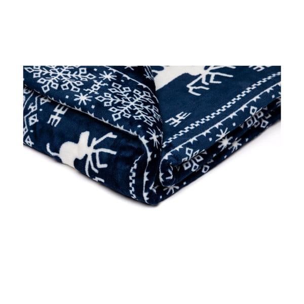Pătură din micropluș My House Deer, 150 x 200 cm, albastru-alb,