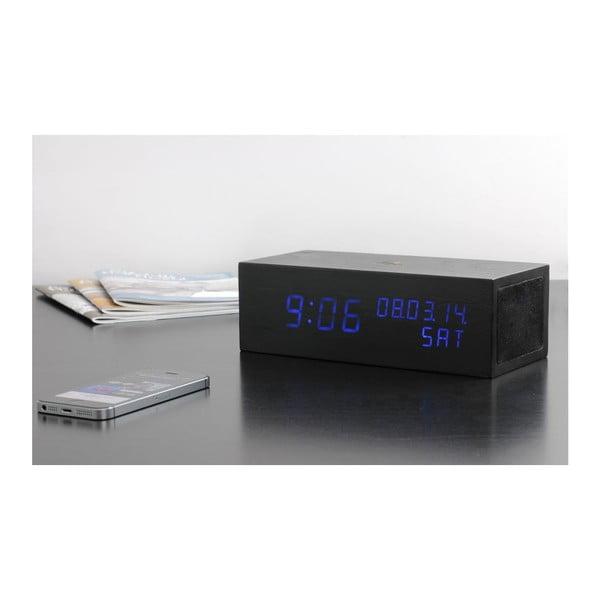Reproduktor Click Clock s modrým LED budíkem, černý