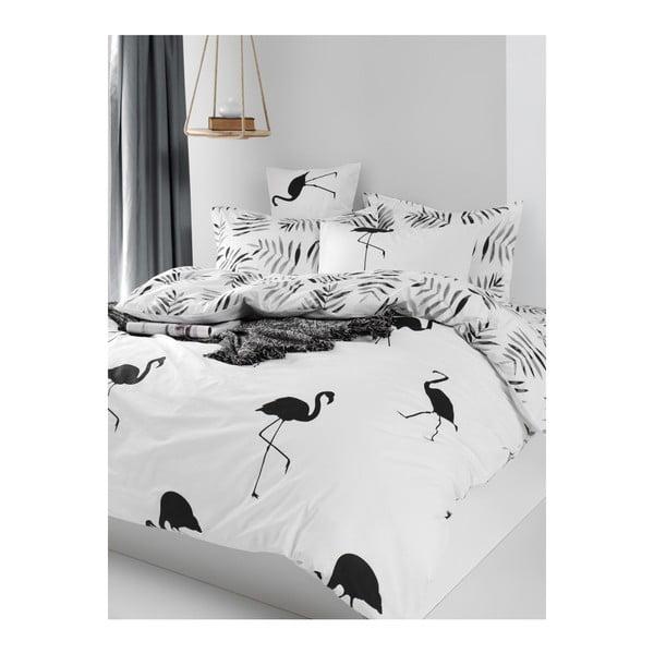 Lenjerie de pat cu cearșaf din bumbac ranforce, pentru pat dublu Mijolnir Hope Black, 160 x 220 cm