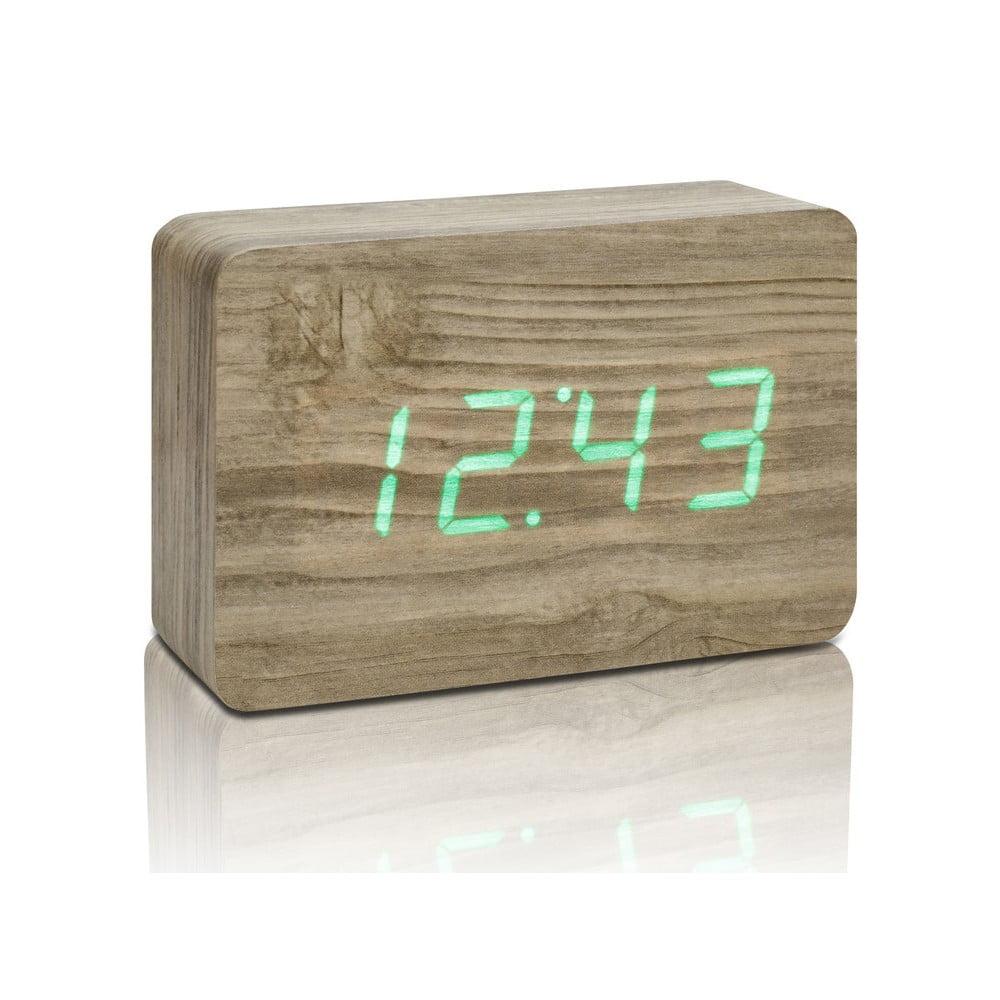 Hnědý budík se zeleným LED displejem Gingko Brick Click Clock