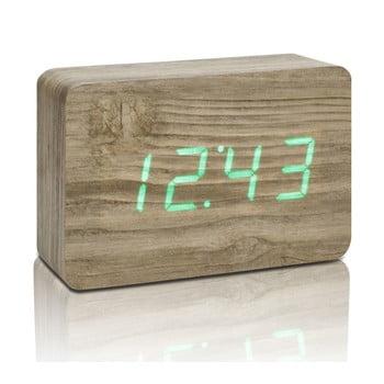 Ceas deșteptător cu LED Gingko Brick Click Clock, maro – verde de la Gingko
