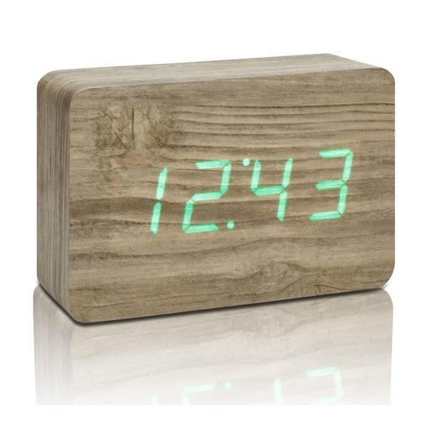 Brick Click Clock barna ébresztőóra zöld LED kijelzővel - Gingko