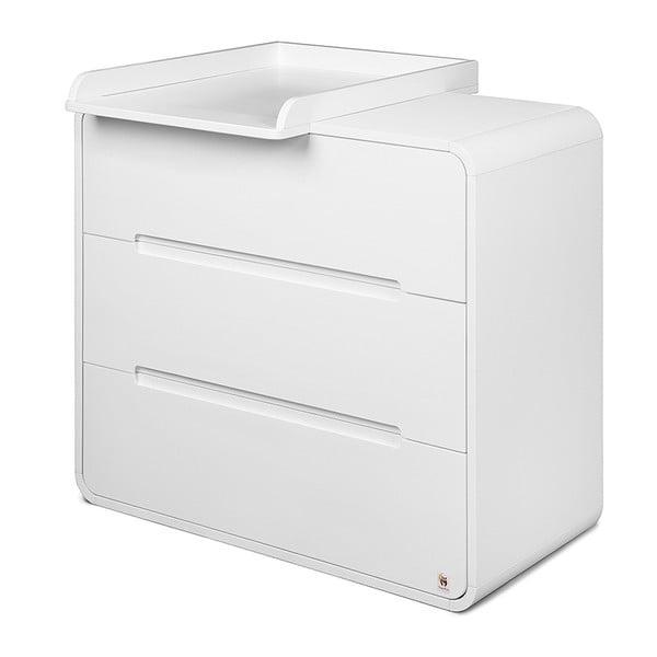 Comodă cu 3 sertare și masă de înfășat detașabilă YappyKids Owl, alb
