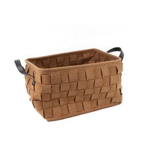 Hnědý úložný košík s koženými úchyty PT LIVING Storage, délka40cm