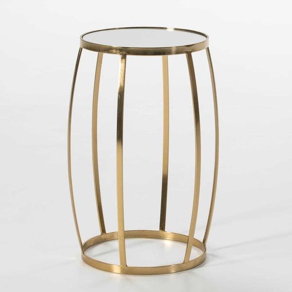 Odkládací stolek ze skla a kovu ve zlaté barvě Thai Natura, 38 x 55 cm