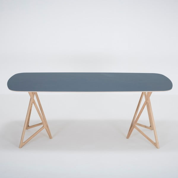 Jídelní stůl z masivního dubového dřeva s tmavě modrou deskou Gazzda Koza, 200x90cm