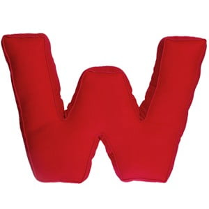 Látkový polštář W, červený