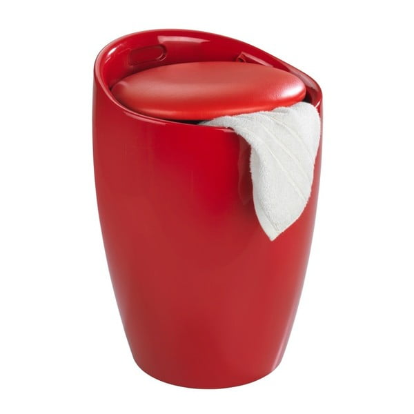 Červený kôš na bielizeň a taburetka v jednom Wenko Candy, 20 l