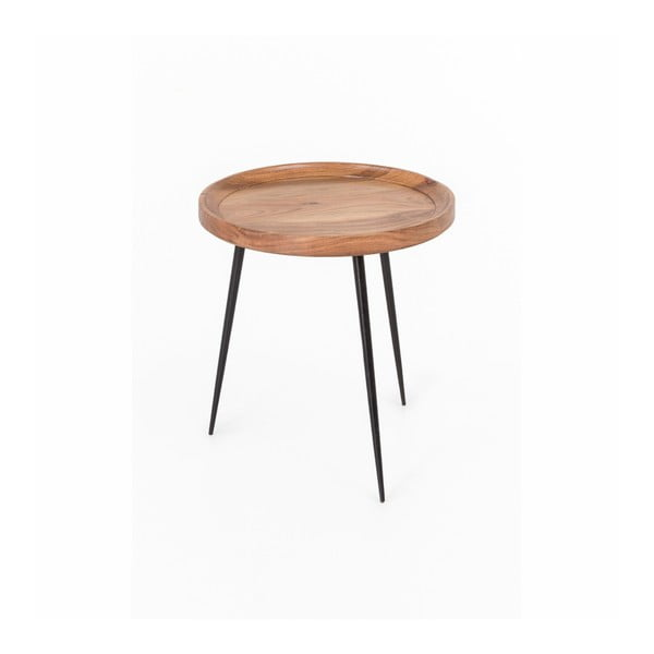 Odkládací stolek z akáciového dřeva WOOX LIVING Nela, ⌀46cm