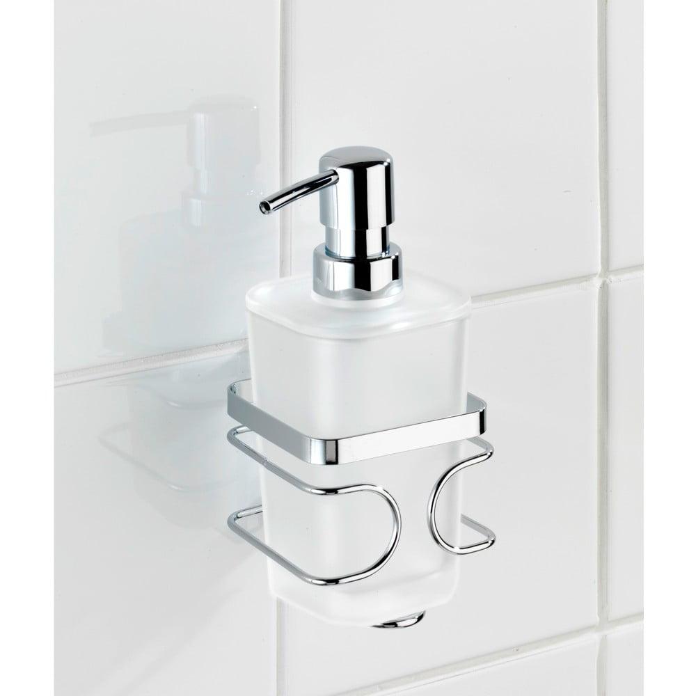 Produktové foto Bílý nástěnný dávkovač na mýdlo s držákem z nerezové oceli Wenko Premium