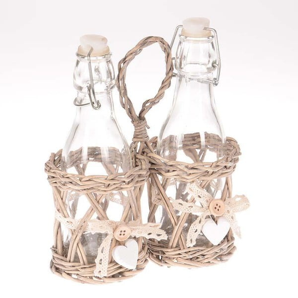 Sada 2 sklenic na ocet a olej v košíku Willow