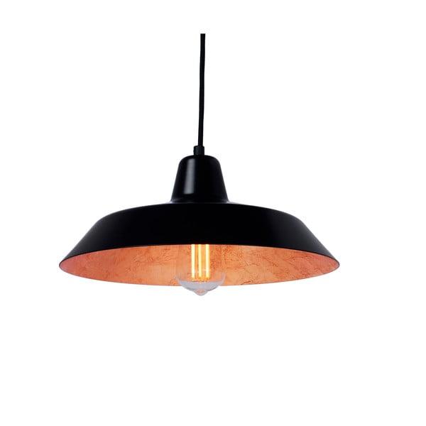 Černé stropní svítidlo s detailem v měděné barvě Bulb Attack Cinco