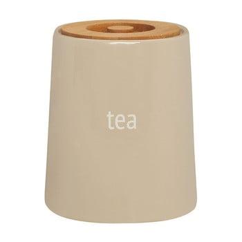 Recipient pentru ceai cu capac din lemn de bambus Premier Housewares Fletcher, 800 ml, crem imagine